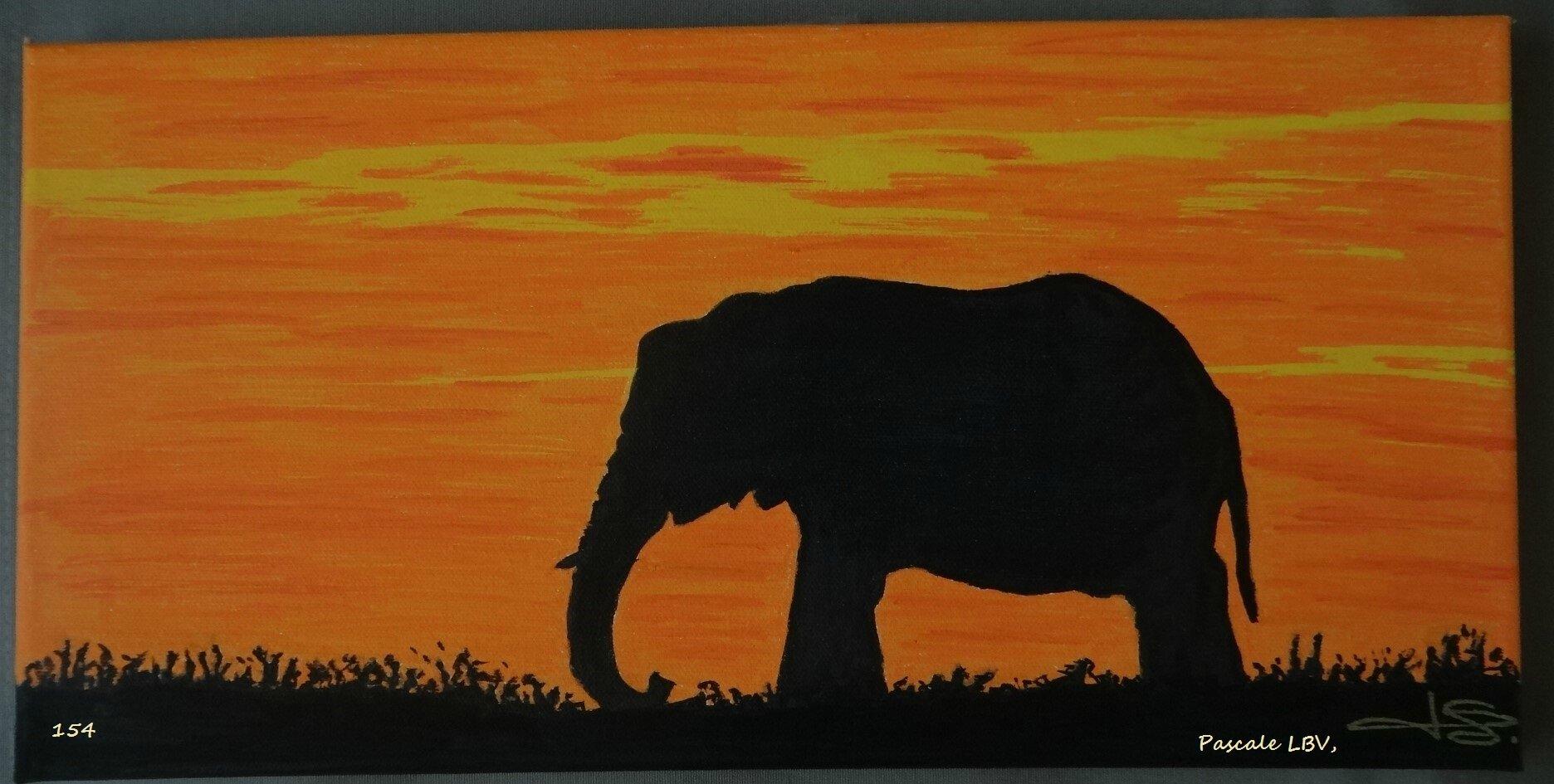 154 Elephant au coucher de soleil - N'EST PLUS DISPONIBLE