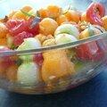Rendez-vous de cucurbitacees et mozzarella, pignons de pin, estragon, au balsamique blanc