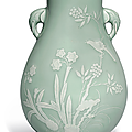 A celadon-glazed slip-decorated vase, hu, Qianlong six-character seal mark in underglaze blue and of the period (1736-1795)