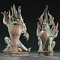 A magnificent pair of painted pottery figures of Earth Spirits, zhenmushou, Tang dynasty (AD 618-907)