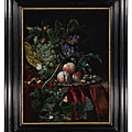 <b>Willem</b> van Aelst, Still life with grapes in a basket, peaches on a silver dish, medlars, two butterflies, a fly and a snail,...