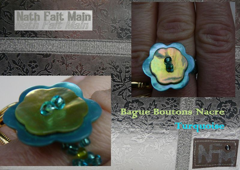 Bague boutons nacre turquoise