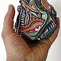 Hervé THAREL SCHMIMBLOCK'S l'aec - gouache T7 sur argile 13,5 cm x 12 cm