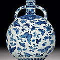 A fine and rare blue and white 'Thousand <b>butterflies</b>' moonflask, bianhu, Qianlong