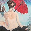 femme d'Asie à l'ombrelle - création marimerveille