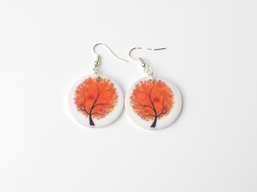 boucles d'oreilles fimo rondes arbre roux