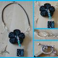 Collier fleur noir turquoise 1