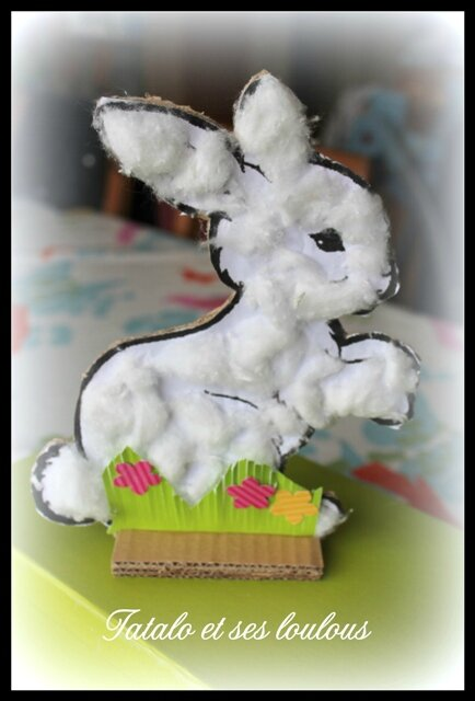 Bricolages de p ques avec les loulous 3 le lapin bouts 39 d 39 papiers - Bricolage lapin de paques ...