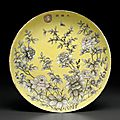 An unusualDayazhai grisailleand pink enamel-decorated yellow-ground dish, Guangxu period (1875-1908)