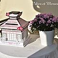 Urne JAPON en rose et blanc