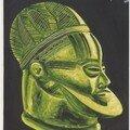 Huile sur toile 73x60 masque heaume ekwè (igala)