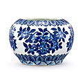 A blue and white 'peach and pomegranate' jar, Mark and period of Wanli (<b>1573</b>-<b>1619</b>)