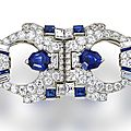 A late art deco sapphire and diamond double clip brooch, <b>Raymond</b> <b>Yard</b>, circa 1935
