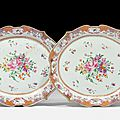 A large and fine pair of famille rose dishes, china, 18th century