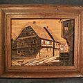 Tableau Chalet Bois Sculpté <b>Art</b> <b>Populaire</b> Montagne 1940/50 Signé Raugel