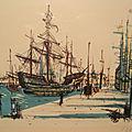 Jean Carzou <b>Lithographie</b> Encadrée Représentant un Port 1954