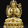 A gilt-bronze figure of <b>Avalokitesvara</b> Sadaksari, Qing dynasty, 17th-18th century
