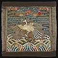 Rare badge de rang civil en satin brodé, buzi; chine, dynastie qing, début du xviiième siècle