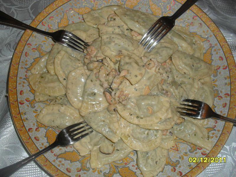 Ravioles saumon et épinard à la crème