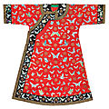 A red-ground silk '<b>butterflies</b>' lady's informal robe, Late Qing Dynasty