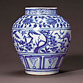 A fine and rare blue and white 'Three Friends of <b>Winter</b>' jar, Yuan dynasty (1279-1368)