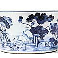 A large blue and white fish bowl, qing dynasty, 18th century