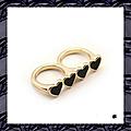 Bague Fashion 2 Doigts Coeurs <b>Email</b> <b>Noir</b> Métal Couleur Doré Taille 17_18 mm