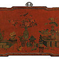 A rare large 'qiangjin' and 'tianqi' lacquer 'Hundred <b>Antiques</b>' panel, Qing dynasty, Kangxi period (1662-1722)
