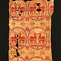Samitum-woven silk with confronted deer in medallions, Central Asia, 7th-<b>8th</b> <b>century</b>