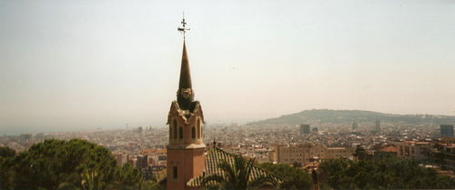 Parque Guell-vue sur Barcelone