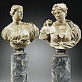 Italie, gênes, début xviiie siècle, paire de bustes de femmes, probablement diane et athéna