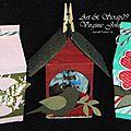 Nichoir, papillon et fleur dans 3 nouvelles <b>boîtes</b> à <b>lait</b> miniatures.