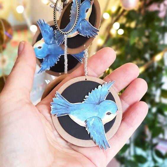 guirlande bleue oiseaux