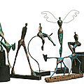Ensemble de sculptures en papier-bronze