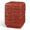 A carved cinnabar lacquer tiered box and <b>cover</b>, Yuan dynasty