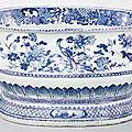 A large blue and white <b>wine</b>-<b>cooler</b>, Qianlong period (1736-95)