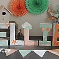 Décoration de chambre d'enfant <b>Cadeau</b> de <b>naissance</b> : Les lettres prénom thème <b>étoiles</b> et nuages