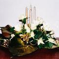 préparation roses blanches (centre de table de fêtes)