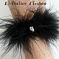 Commande spéciale d'un <b>bracelet</b> cabaret pour une soirée de mariage ! <b>Bracelet</b> en <b>plumes</b> noires et strass ! Très aérien ! J'adore
