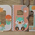 Lettres décorées thème renard <b>décoration</b> pour baptême ou <b>chambre</b> d'enfant
