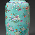 A turquoise-ground famille rose 'floral spray' <b>vase</b>, 19th century