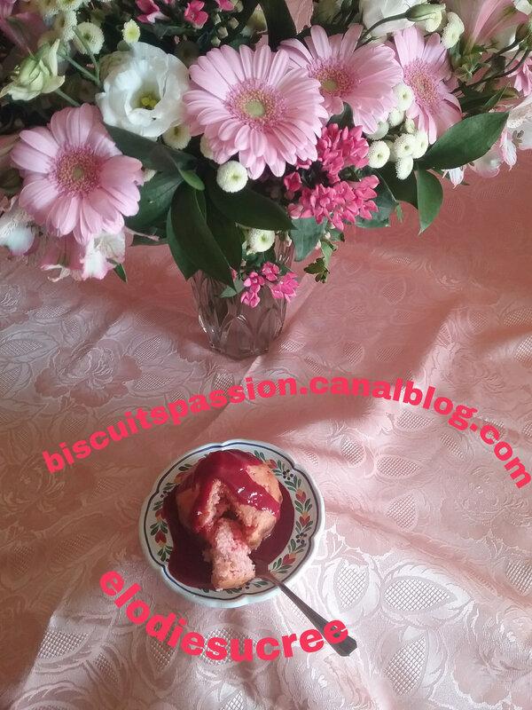 Gâteau au yaourt , aux pralines roses et au coulis de framboises 041