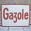 Grande Plaque <b>Publicitaire</b> Tole Double Face Gazole Collection Garage Automobilia