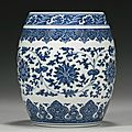 A fine and rare blue and white Ming style <b>barrel</b>-<b>form</b> <b>vase</b>, Qianlong seal mark and period