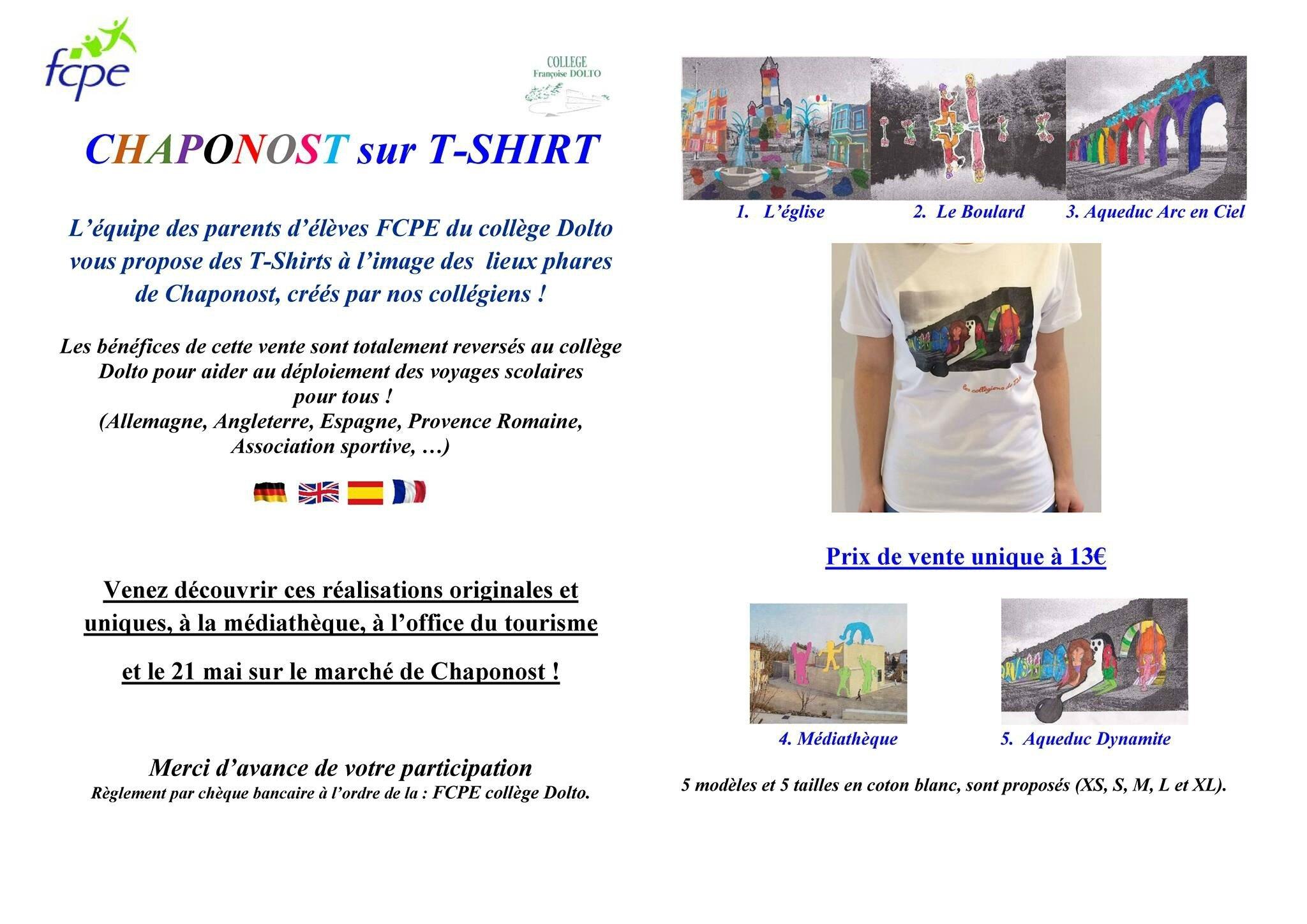 - T-Shirts à l'image des lieux phares de Chaponost