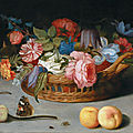 <b>Balthasar</b> <b>van</b> <b>der</b> <b>Ast</b>, Roses, tulips, irises and other flowers in a wicker basket, with fruit and insects on a ledge