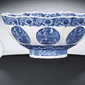 A fine Ming-style blue and white '<b>phoenix</b> medallion' bowl, Kangxi six-character mark within double-circles and of the period