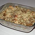 Gratin de pâtes aux cèpes, à la truite fumée et à la cancoillotte