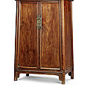 A huanghuali round-<b>corner</b> tapered cabinet, yuanjiaogui, Mid Qing Dynasty