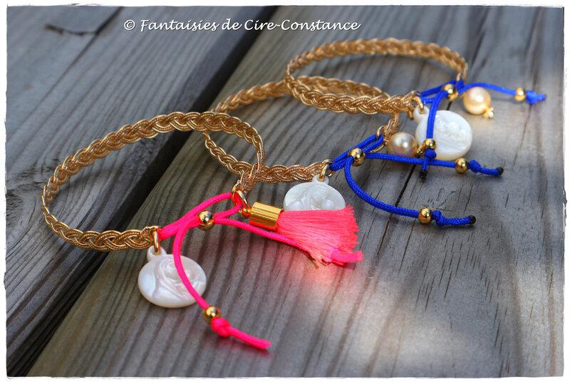 Joncs Gwen bleu roi rose fluo vierge nacre 15 mm